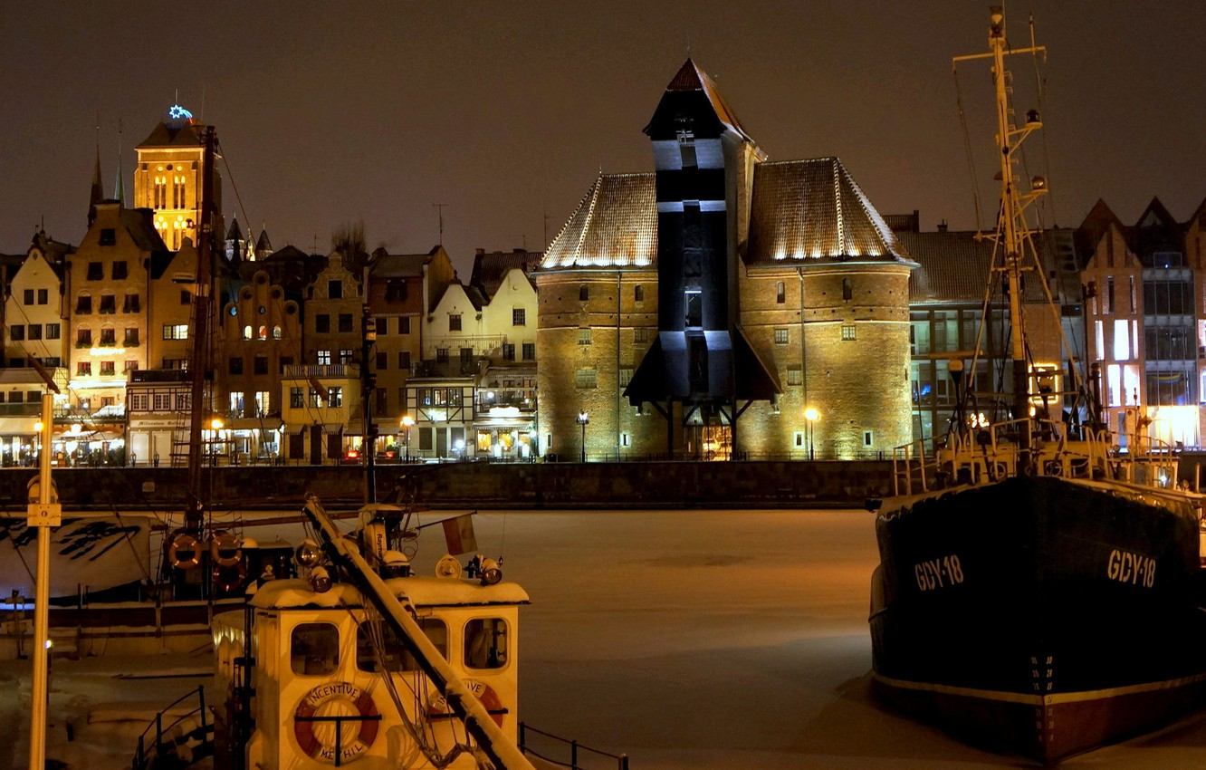 Photo wallpaper winter, night, lights, ship, home, Poland, promenade, Gdansk