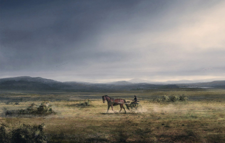 Photo wallpaper figure, Horse, plain, wagon