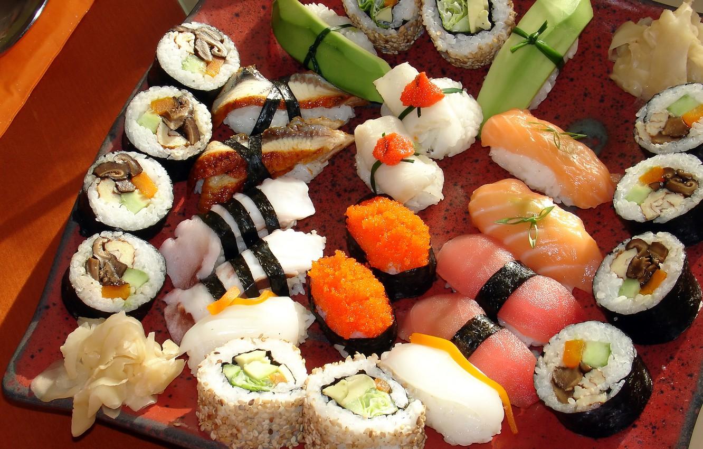 Photo wallpaper greens, mushrooms, Japan, Japan, pepper, figure, placer, caviar, slices, sushi, rolls, seafood, wasabi, Japanese cuisine, …