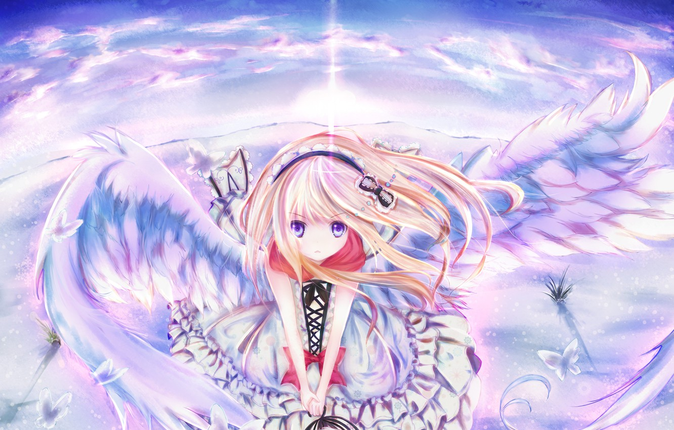 Photo wallpaper the sky, girl, clouds, butterfly, wings, anime, barrette