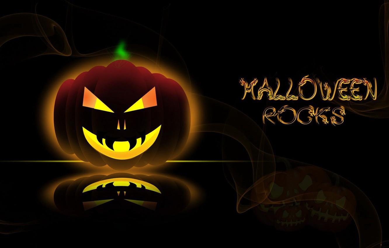 Photo wallpaper line, reflection, the inscription, pumpkin, Halloween, halloween