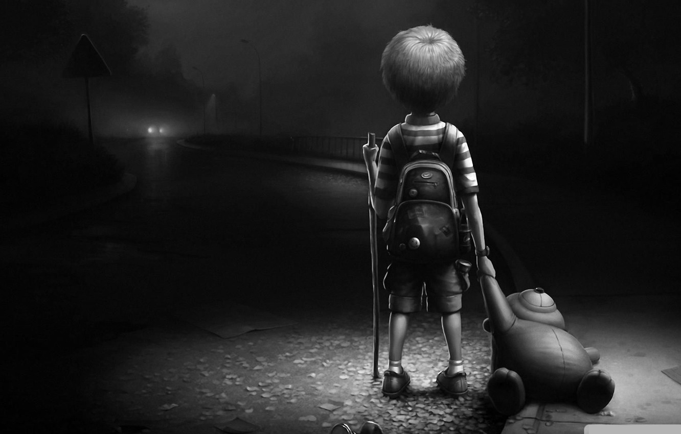 Photo wallpaper void, night, abandoned, loneliness, Baby