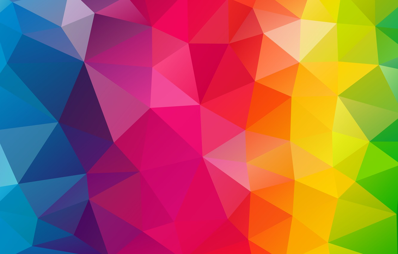 Photo wallpaper purple, light, line, orange, blue, red, yellow, pink, triangles, rainbow, texture, bending, faces, green, geometry, …