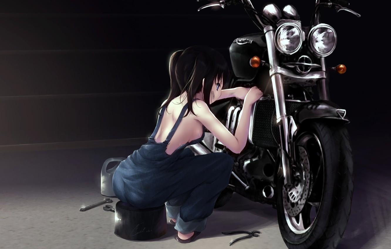 Photo wallpaper motorcycle, repair, black hair, repairs