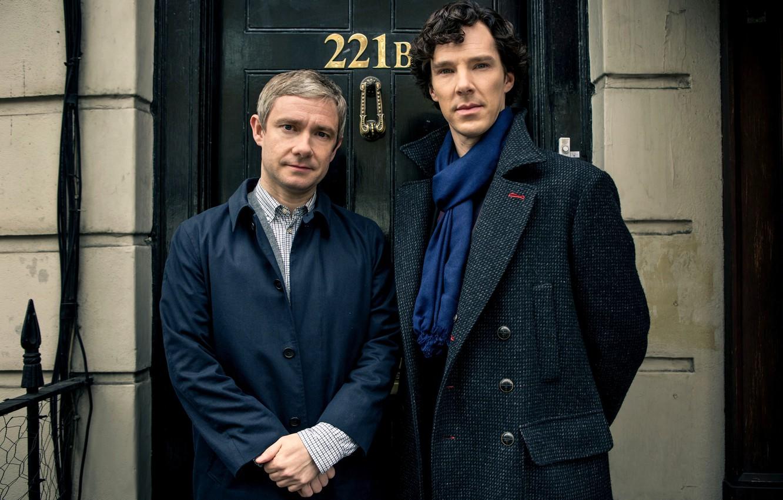Photo wallpaper the door, actors, Sherlock Holmes, men, Season 3, Martin Freeman, Martin Freeman, Benedict Cumberbatch, Benedict …