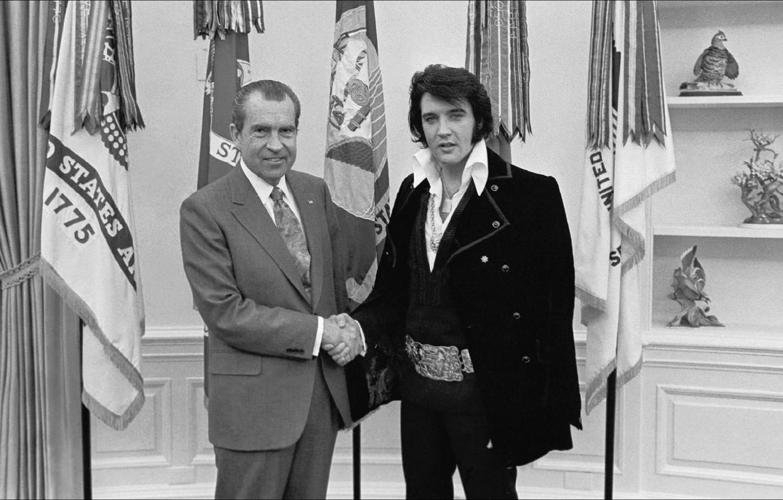 Фото обои США, история, президент, Элвис Пресли, Ричард Никсон