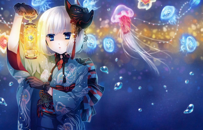 Photo wallpaper girl, flowers, anime, mask, art, jellyfish, lantern, kimono, katagiri henna instructions