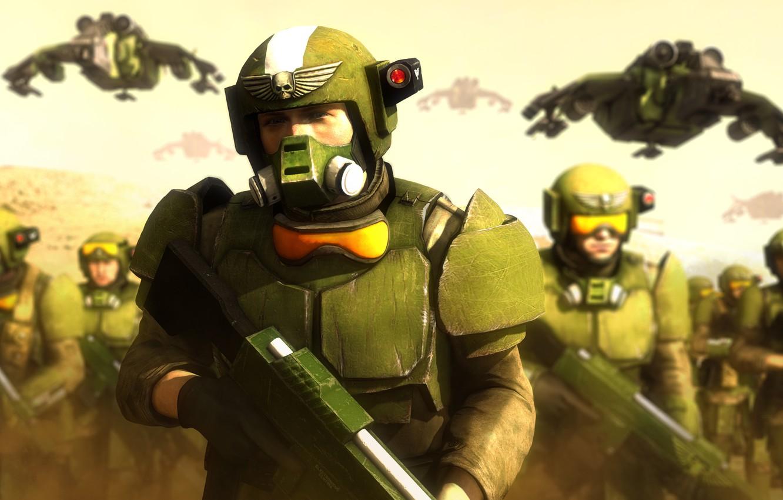 Wallpaper Rendering Art Warhammer 40 Helmet Soldiers 000