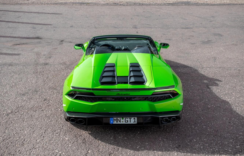 Photo wallpaper machine, green, tuning, ass, Lamborghini, supercar, Spyder, exhausts, Novitec, Torado, Huracan, novitek