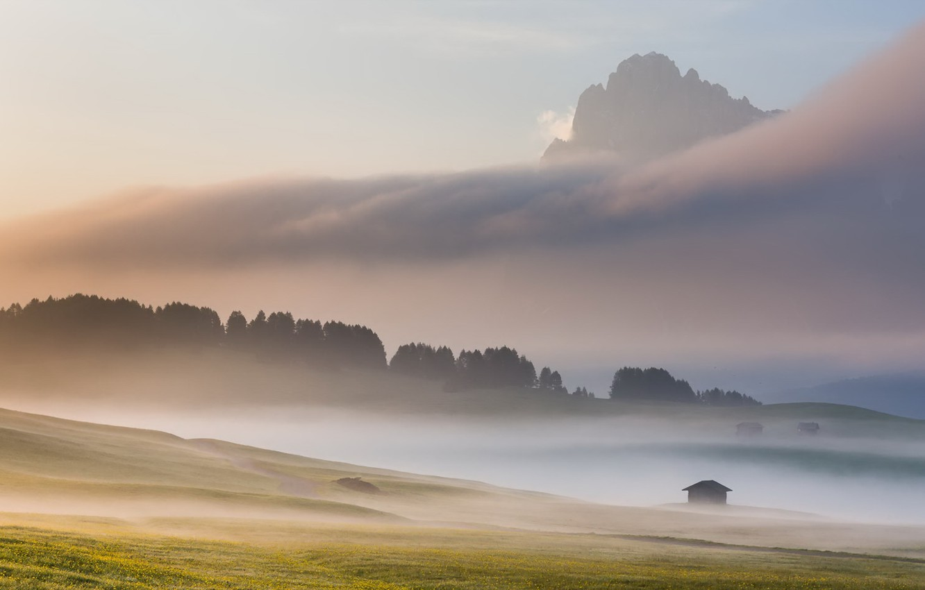 Photo wallpaper landscape, mountains, fog, morning, Italy, Dolomites, Alpe di Siussi