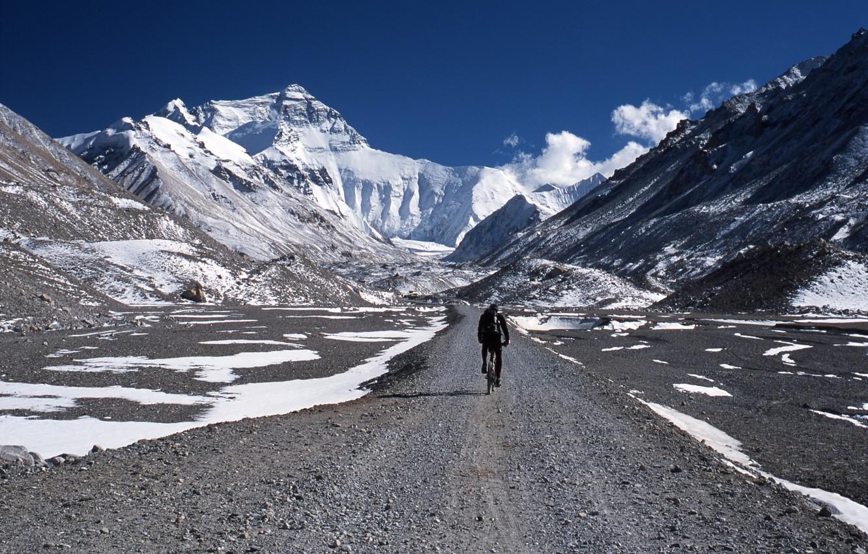 Photo wallpaper mountains, nature, sport, cyclist