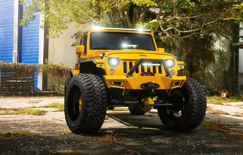 Photo wallpaper Front, Forged, Yellow, Custom, Wrangler, Jeep, Wheels, Track, HydraSports, Amani