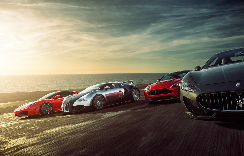 Photo wallpaper Ferrari F430, Bugatti Veyron, Speed, Sunset, Supercars, Sea, Aston Martin Vantage, Maserati Grant Turismo