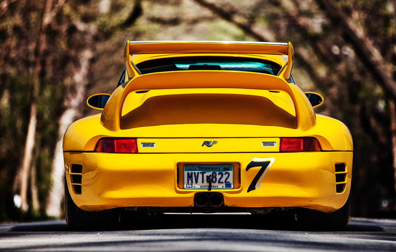 Photo wallpaper 911, Porsche, road, yellow, back, 993, reputation, ctr2
