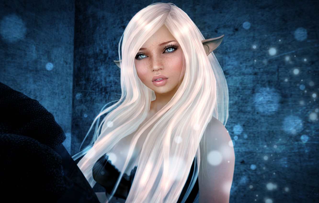 Photo wallpaper look, girl, face, rendering, hair, elf, freckles, ears