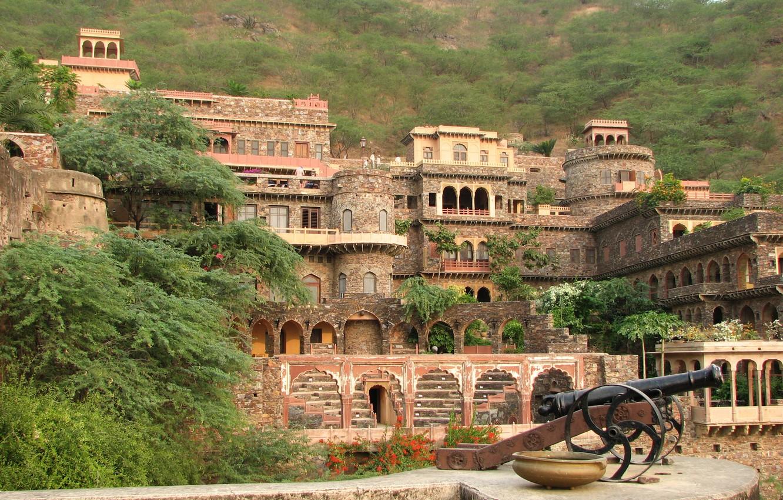 Photo wallpaper India, gun, fortress, Palace, Neemrana Fort