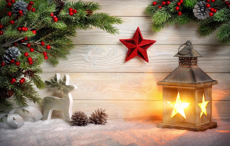 Photo wallpaper snow, branches, star, deer, Christmas, lantern, New year, bumps, figure
