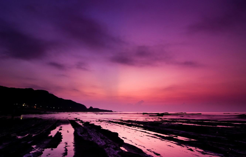 Photo wallpaper water, sunset, pink, shore