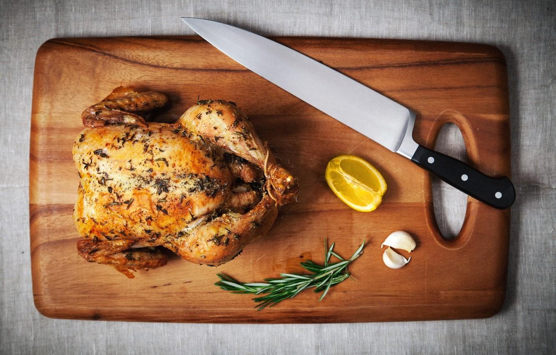 Photo wallpaper lemon, chicken, knife, garlic, grill, cutting Board