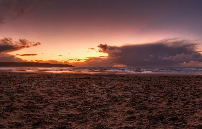 Photo wallpaper sand, sea, beach, sunset, 152