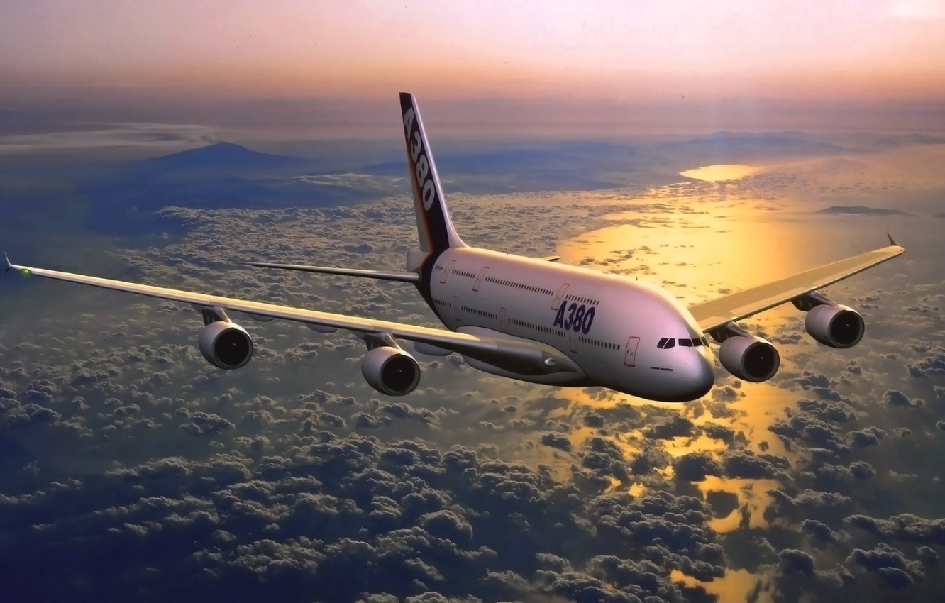 Photo wallpaper Sunset, The sky, Sea, The plane, Aviation, A380, Airbus, In the air, Flies