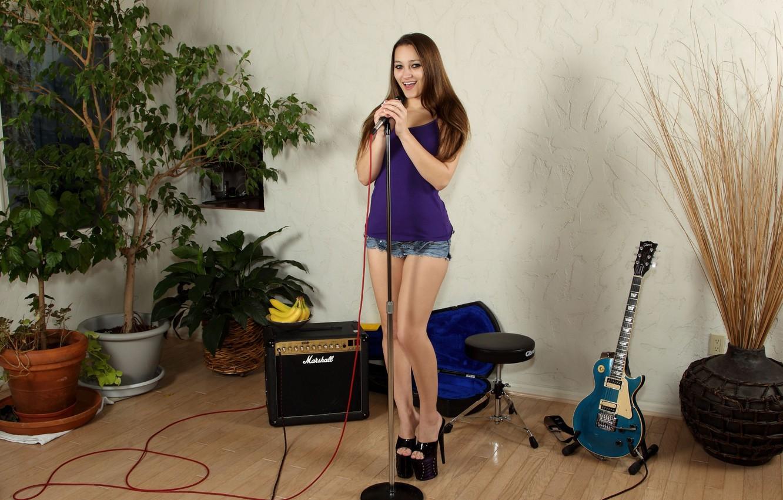 Photo wallpaper look, pose, body, guitar, Girl, microphone, legs, Dani Daniels