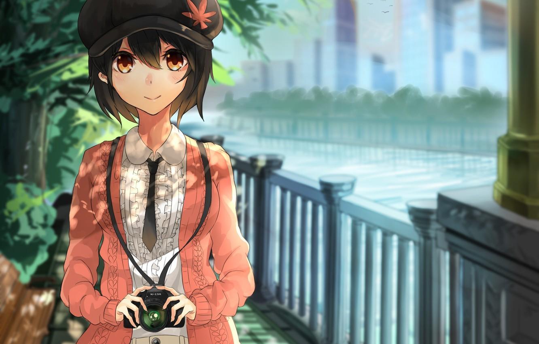 Photo wallpaper girl, trees, river, street, the fence, art, cap, touhou, the camera, shameimaru aya, akira