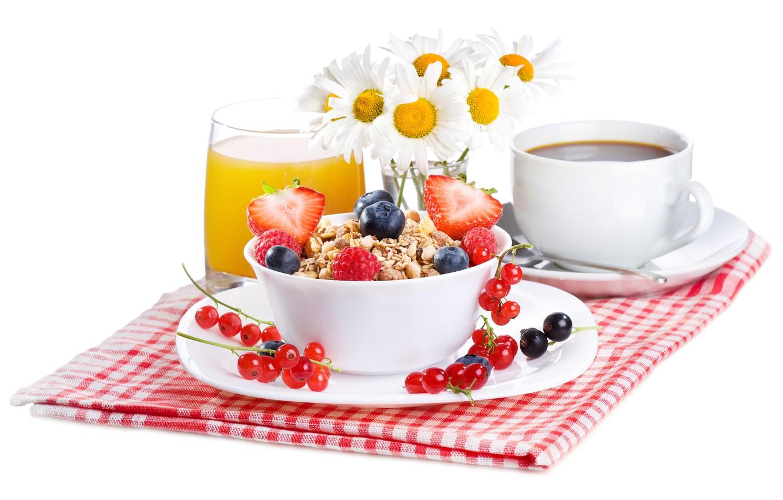 Photo wallpaper flowers, coffee, food, Breakfast, fruit