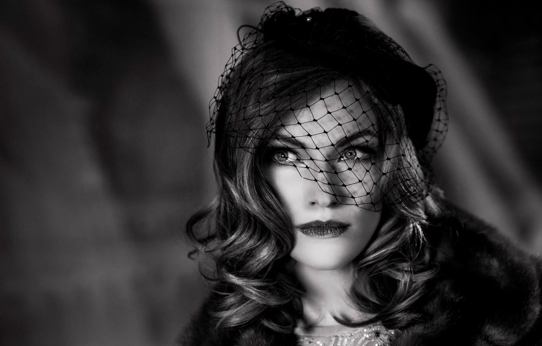 Photo wallpaper girl, retro, hat, veil, Lady