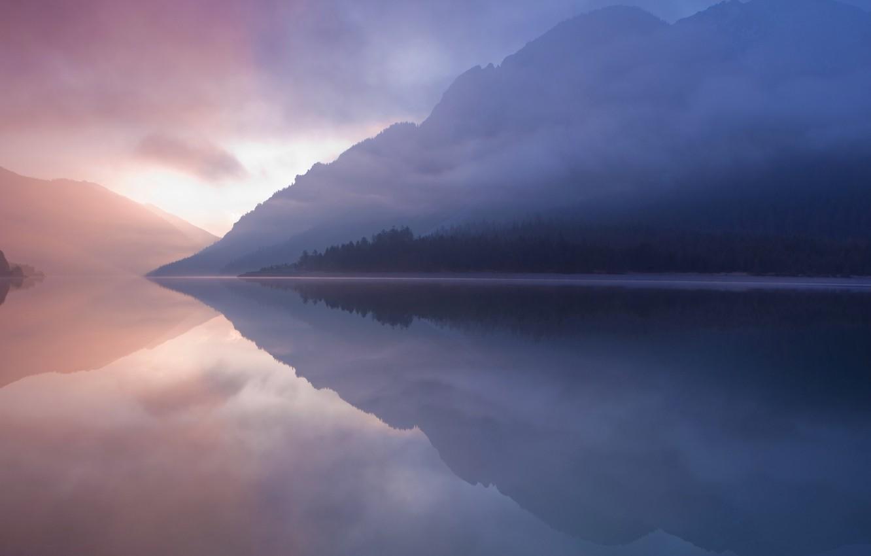 Photo wallpaper nature, lake, reflection, mountain, mac