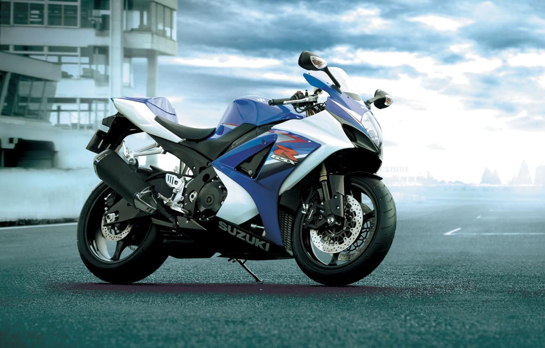 Photo wallpaper road, motorcycle, sport, suzuki, moto