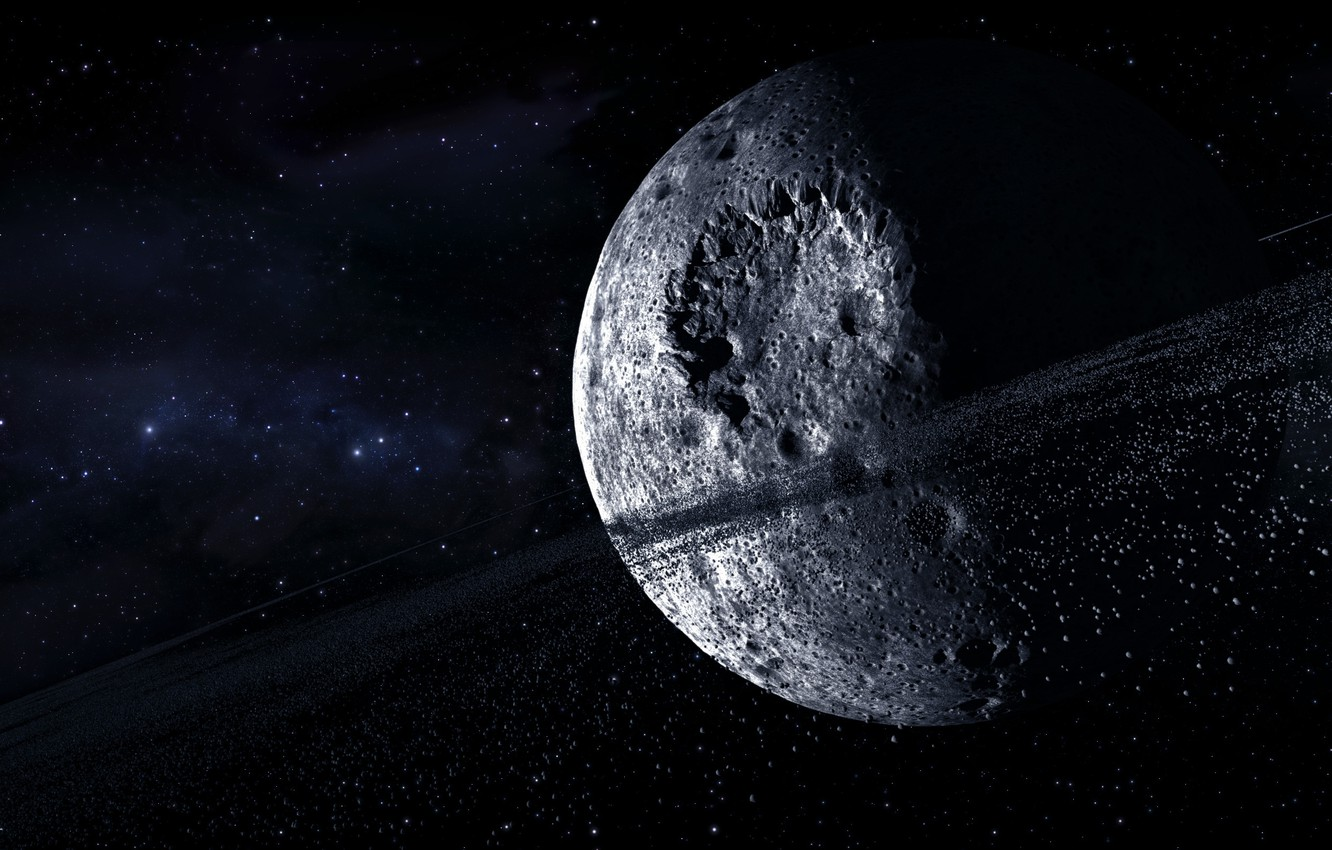 Photo wallpaper space, stars, planet, asteroids, ring, craters, multi monitors