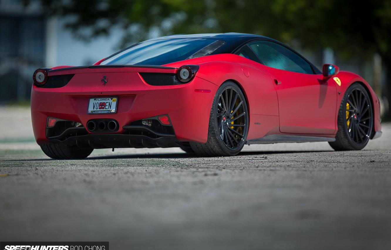 Photo wallpaper machine, auto, asphalt, Ferrari, lights, Ferrari, wheels, drives, auto, feed, 2015, Vossen Wheels