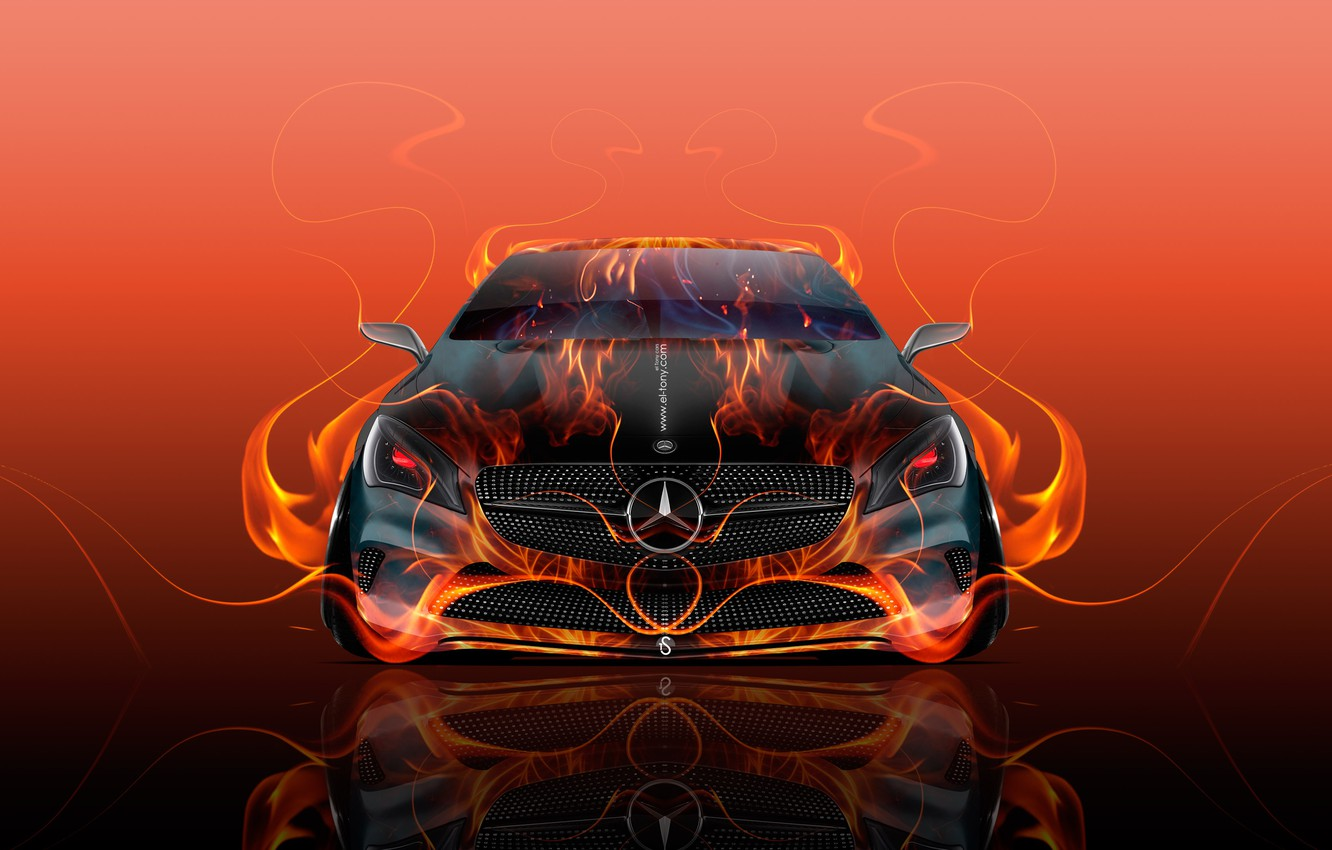 Wallpaper Mercedes Benz Red Auto Design Black Yellow Fire