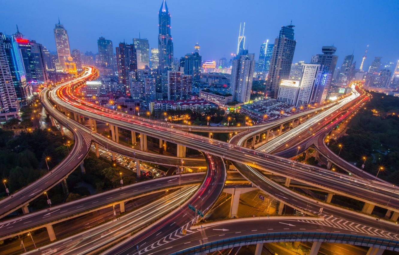 Photo wallpaper night, the city, china, shanghai