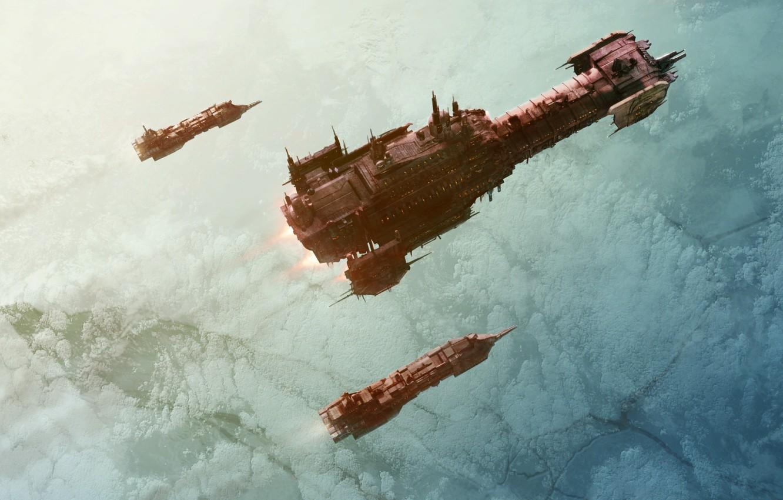 Photo wallpaper space, ship, warhammer 40000