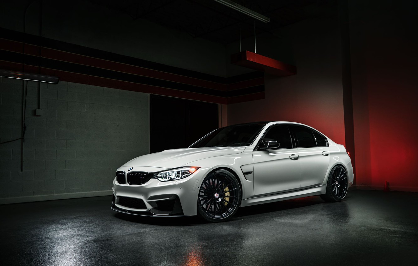 Photo wallpaper BMW, Dark, Front, White, Matte, Wheels, HRE, F80