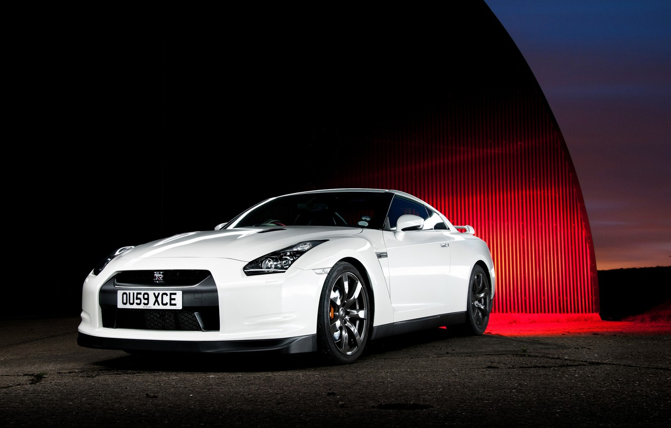 Photo wallpaper Nissan, white, GT-R, front
