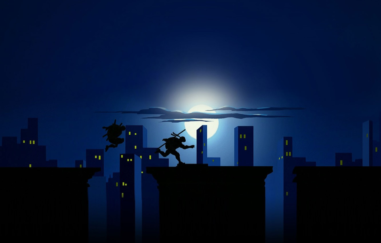 Photo wallpaper the city, the moon, roof, Donatello, tmnt, teenage mutant ninja turtles, teenage mutant ninja turtles, …
