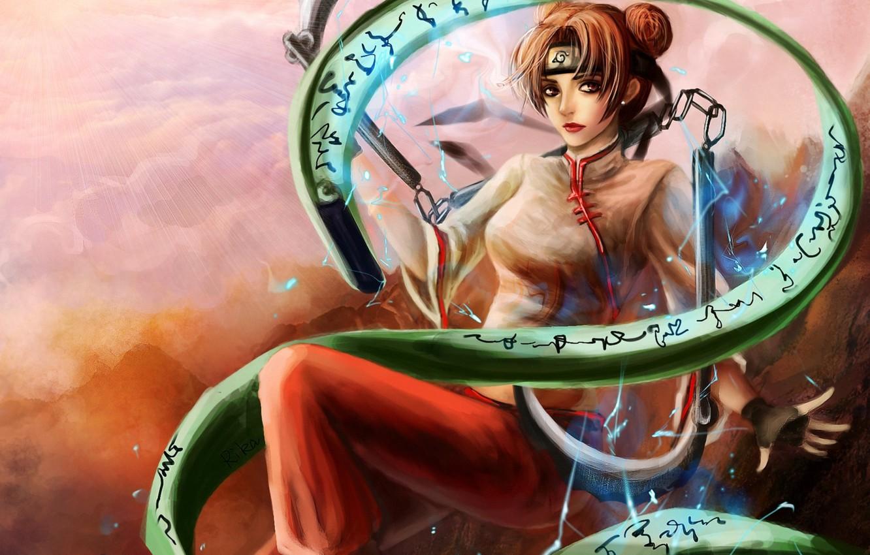 Photo wallpaper girl, magic, zipper, art, spell, naruto, rikamello, tenten