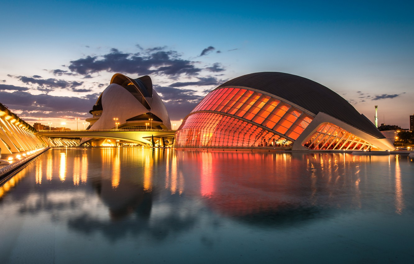 Photo wallpaper the sky, clouds, sunset, bridge, lights, reflection, river, the evening, lighting, lights, Spain, Valencia, the …