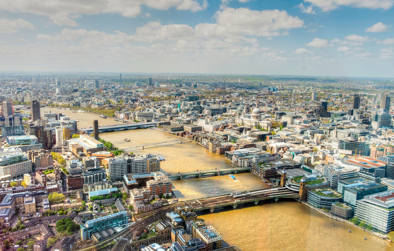 Photo wallpaper the sky, clouds, river, home, London, panorama, bridges, Thames, street