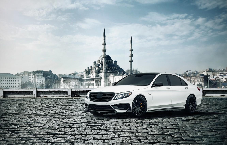 Photo wallpaper Mercedes-Benz, Brabus, Front, AMG, White, B63