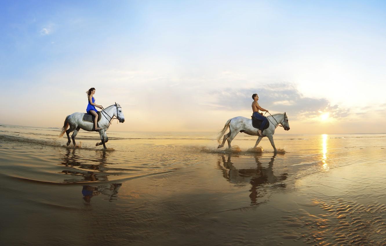 Photo wallpaper sand, sea, girl, reflection, coast, horse, guy, walk