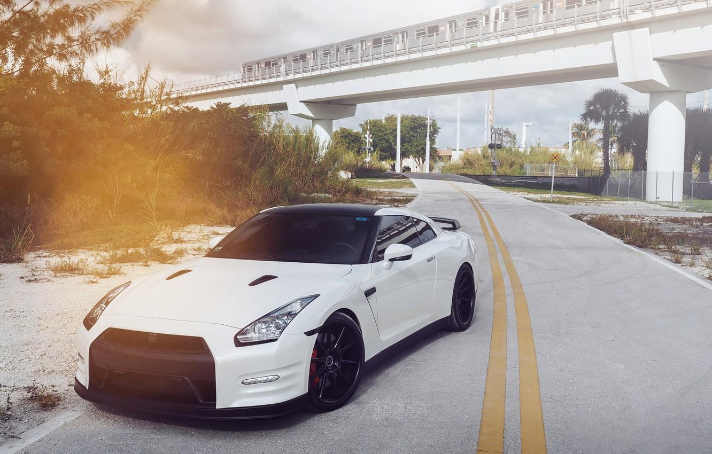 Photo wallpaper White, Tuning, Nissan, Nissan, gtr