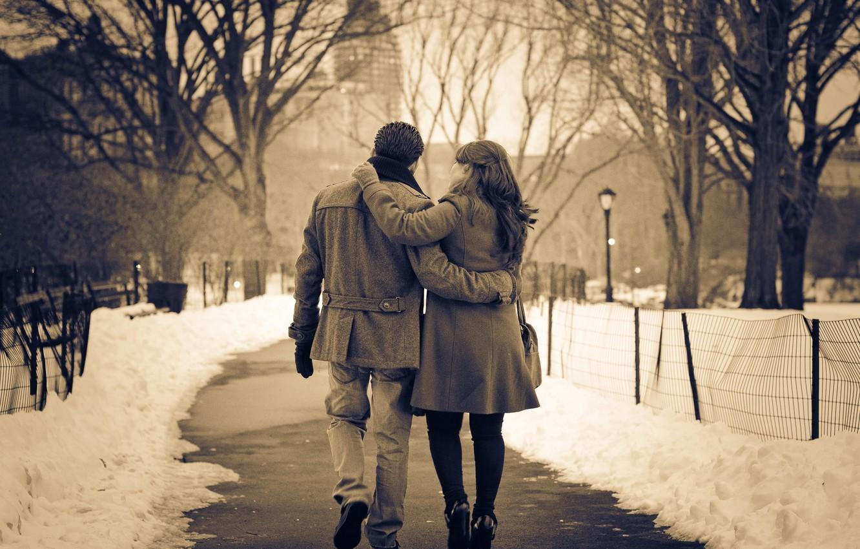 Photo wallpaper winter, girl, snow, love, mood, tenderness, hugs, lights, pair, track, guy, square