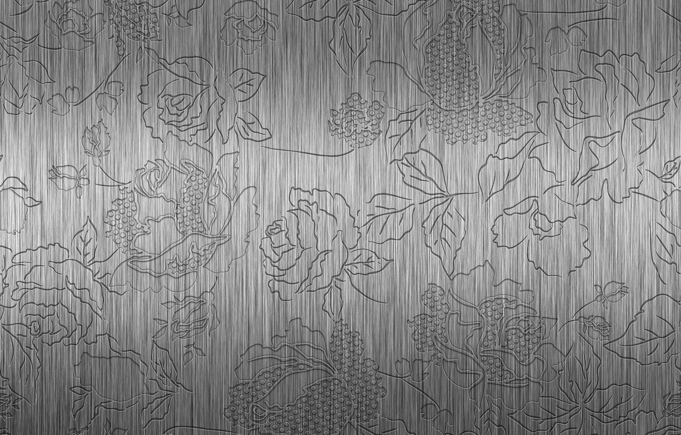 Photo wallpaper metal, pattern, steel, roses, embossed