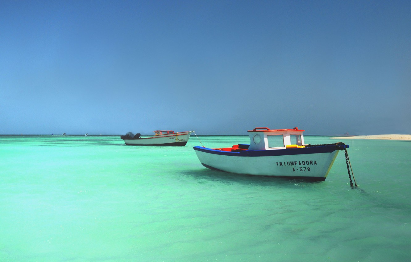 Photo wallpaper Sky, Blue, Beach, Brazil, Brasil, Sea, Maranhão, Boats