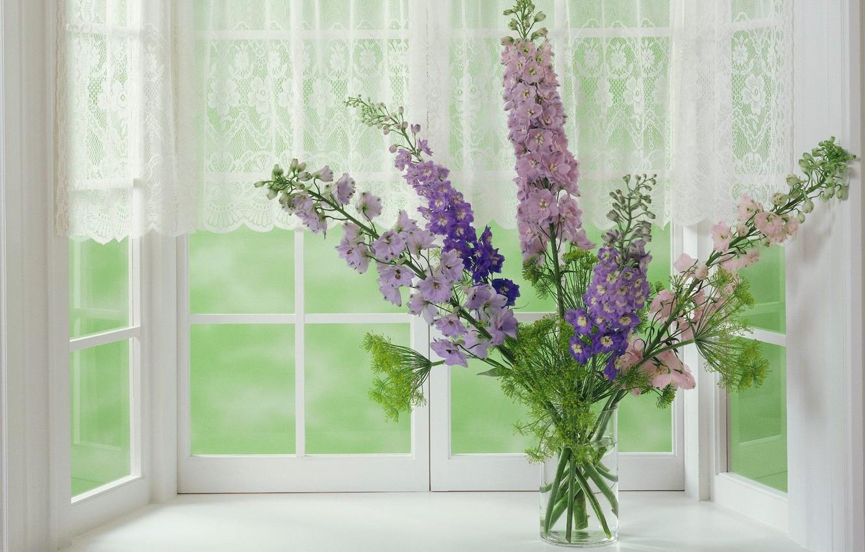 Photo wallpaper Window, Vase, Bouquet