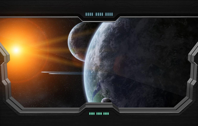Photo wallpaper window, planet, sci fi, view space